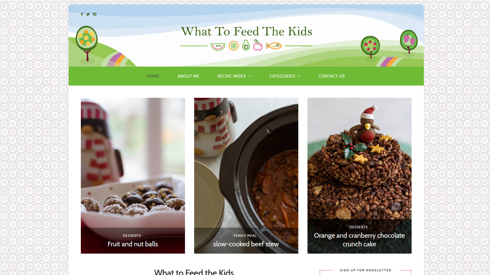 website design what to feed the kids